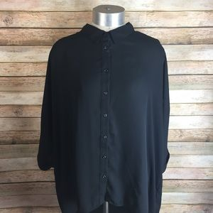 Black Button Up W/ Open Sleeves